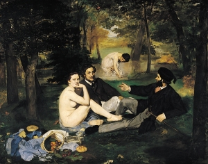 Le déjeuner sur l'herbe (Luncheon on the Grass),  oil on canvas, Édouard Manet,1863  © Musée d'Orsay, Paris http://upload.wikimedia.org/wikipedia/commons/f/fc/%C3%89douard_Manet_-_Le_D%C3%A9jeuner_sur_l'herbe.jpg