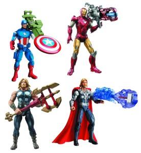 マーベルヒーローズのアクションフィギュア。 マーベルは、当時このようなフィギュア事業のために映画の版権を売った。 http://4.bp.blogspot.com/-Y6i2GmyUbPU/Txni2zsWM6I/AAAAAAAAipQ/tsJlHEgfKac/s1600/Marvel-Hasbros-The_Avengers-Action_Figures-1.jpg