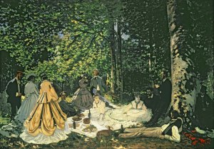 Le Dejeuner sur l'Herbe(Lunchen on the Grass) Oil on Canvas,248×217 Claud Monet, 1865-1866 © Musée d'Orsay,  http://www.wallhogs.com/images/products/orig/2438.jpg