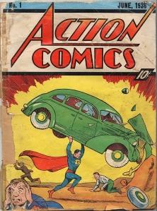 アクション・コミックスに掲載された初期スーパーマン。超人的な力が強調されている © 1938 DC Characters, Inc. ALL RIGHTS RESERVED.
