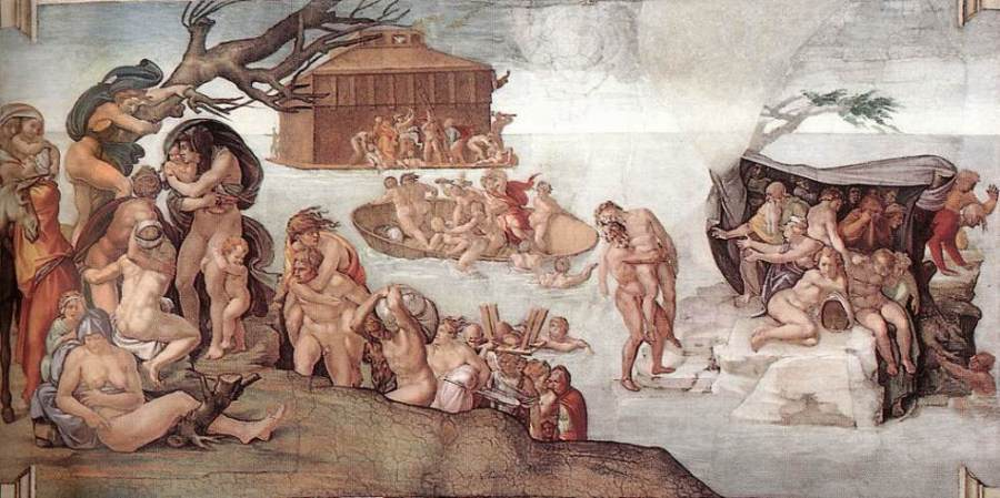 ミケランジェロ、「ノアの方舟」 システィーナ礼拝堂(ヴァティカン)の壁画より、1508-12年