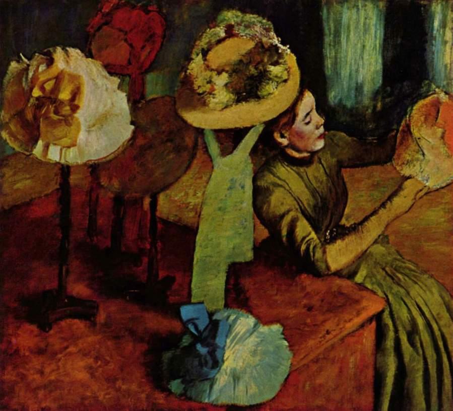 「婦人用帽子屋(The Millinery Shop)」 エドガー・ドガ、 1885年  シカゴ美術館 100 x 110.7 cm 油彩、キャンバス