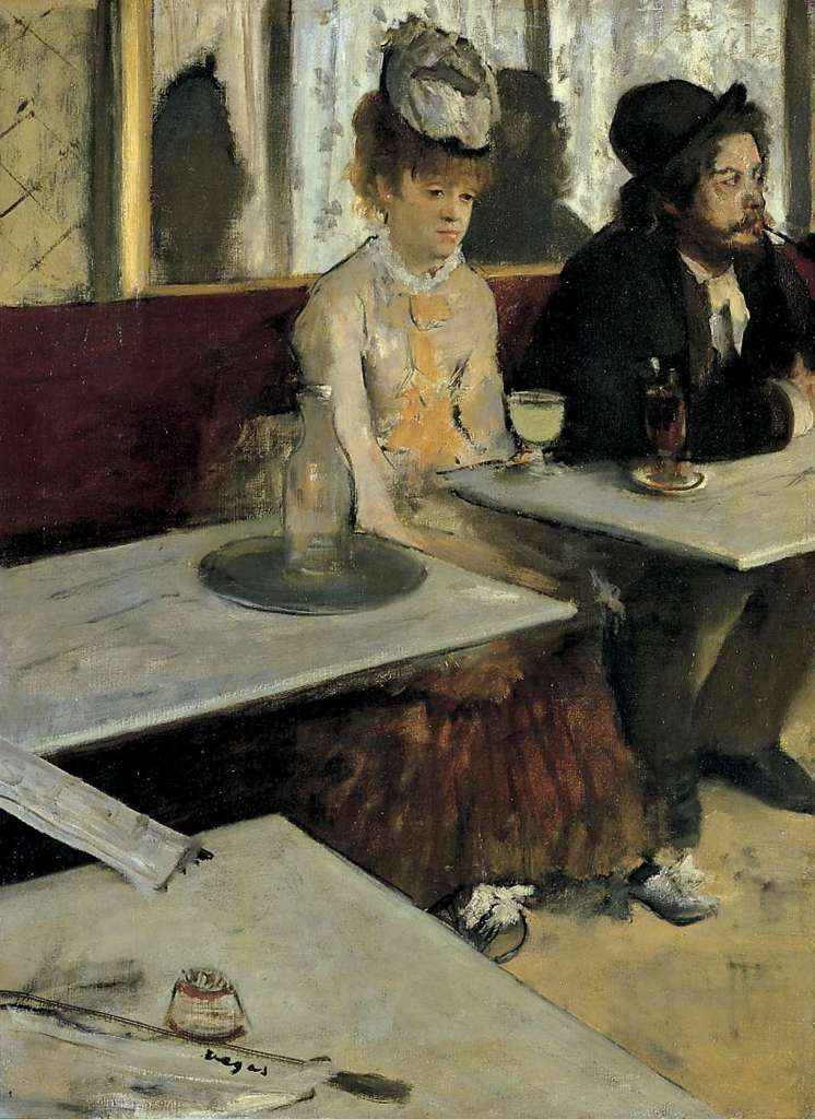 「アプサント(カフェにて)」 エドガー・ドガ、1875-76  オルセー美術館(パリ) 92×68cm   油彩、キャンバス