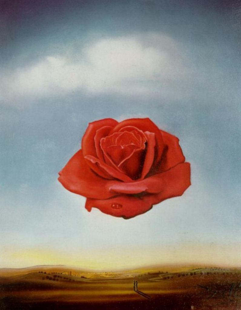 サルバドール・ダリSalvador Dali 「瞑想するバラ((Rosa Meditativa)」 1958年 油彩、カンヴァス 36 x 28 cm