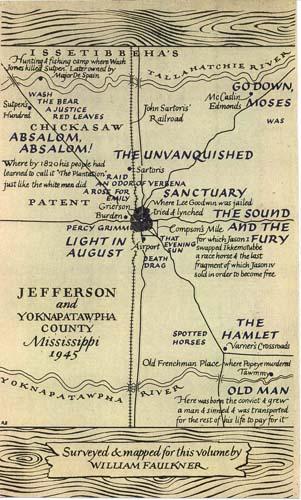 フォークナーが書いたヨクナパトーファ州のマップ。 「ポータブル・フォークナー(The Portable Faulkner)」(1946)に掲載された。
