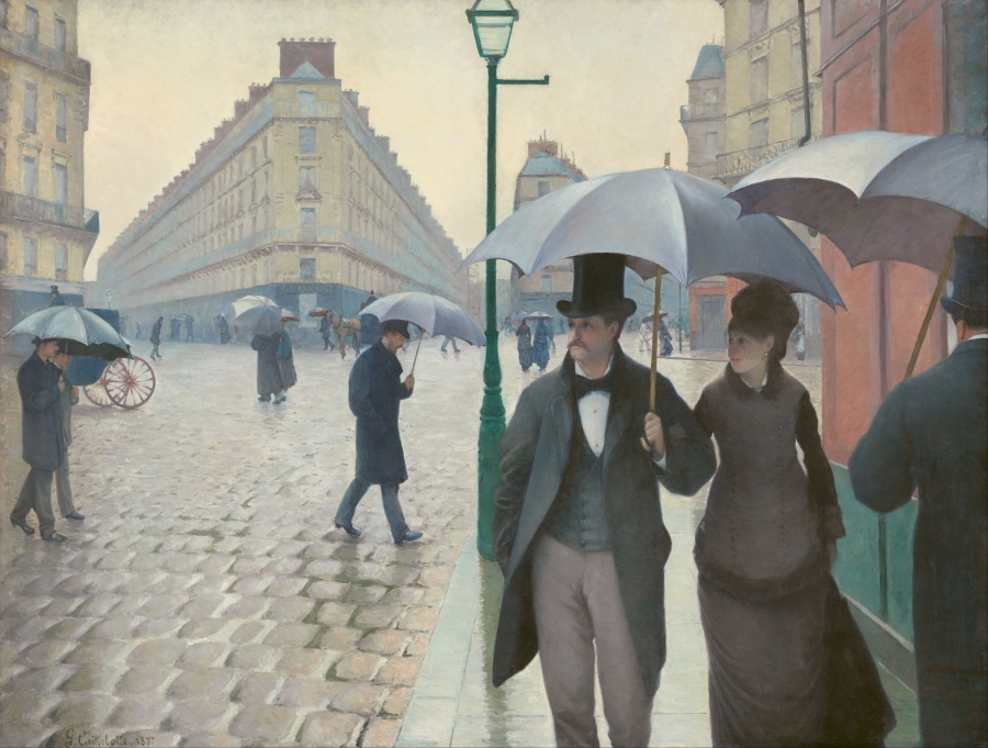 「パリの通り、雨(パリの街角、雨)、 (原題:Rue de Paris, temps de pluie, 英: Paris Street :Rainy Day) ギュスターヴ・カイユボット、1877年  シカゴ美術館 油彩、カンヴァス   209×300cm
