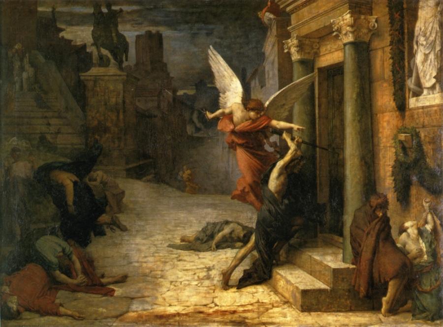 《ローマのペスト(Peste à Rome)》 エリー・ドローネー、1869年  油彩、カンヴァス 131.5×177cm  オルセー美術館(パリ)