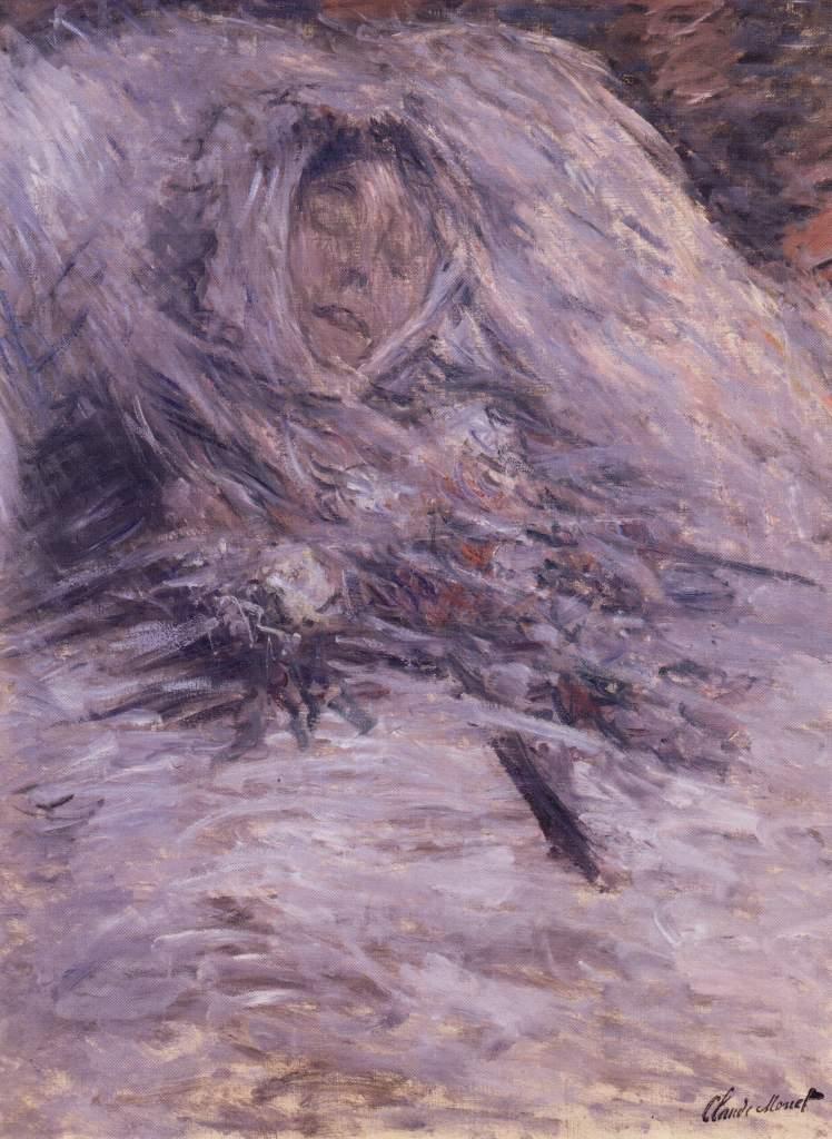 《死の床のカミーユ(Camille sur son lit de mort)》 クロード・モネ、1879年 油彩、カンヴァス 90×68 cm  オルセー美術館(パリ)